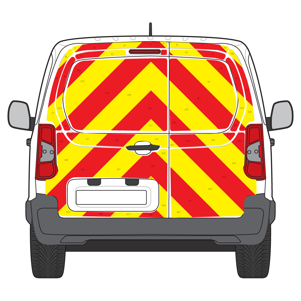 C8 3MDG Red & 3M Saturn Fluo Yellow Citroen Berlingo L1H1 2018  Full Rear