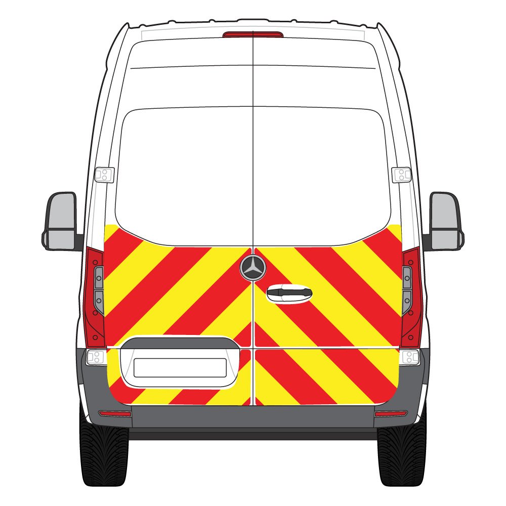 C8 3MDG Red & 3M Saturn Fluo Yellow Mercedes Sprinter FWD 2018 Half Rear