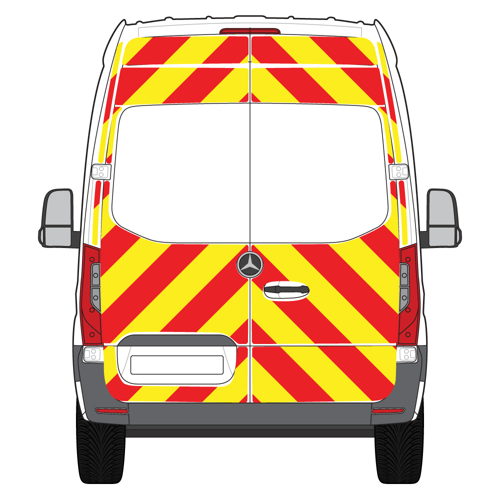 C8 Nikkalite FEG Red & HI-SCAL Fluo Yellow Mercedes Sprinter High Roof FWD 2018 Full Glazed