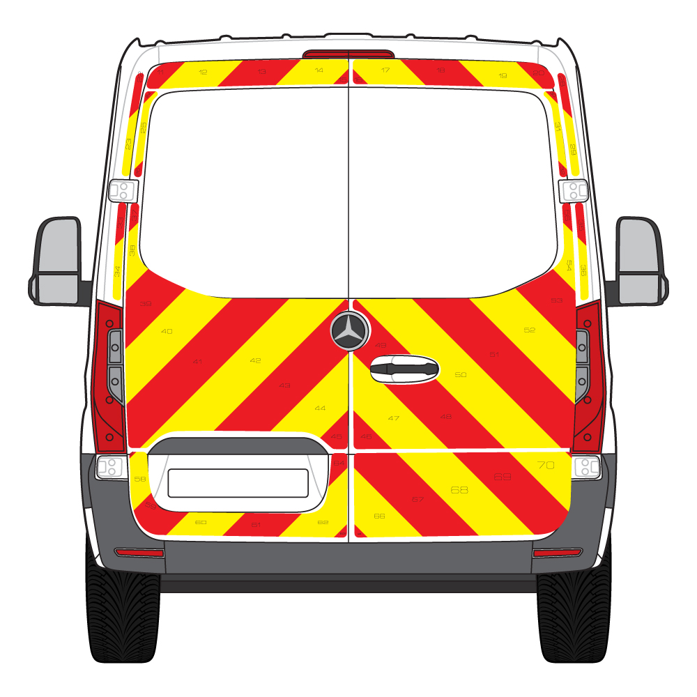 C8 3MDG Red & 3M Saturn Fluo Yellow Mercedes Sprinter Low Roof FWD 2018 Full Glazed