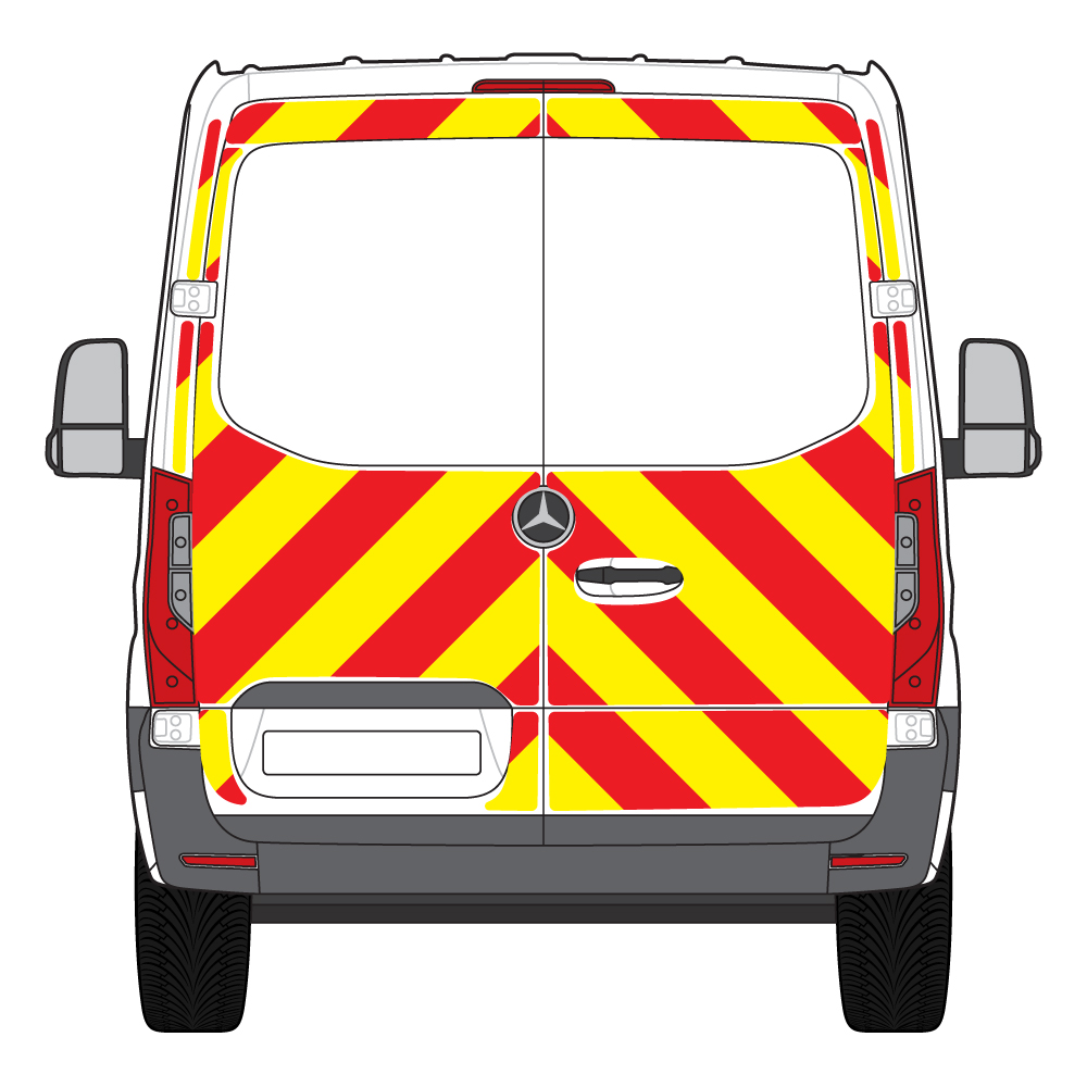 C8 Nikkalite Crystal Grade Red & HI-SCAL Fluo Yellow Mercedes Sprinter RWD 2018 Full Glazed