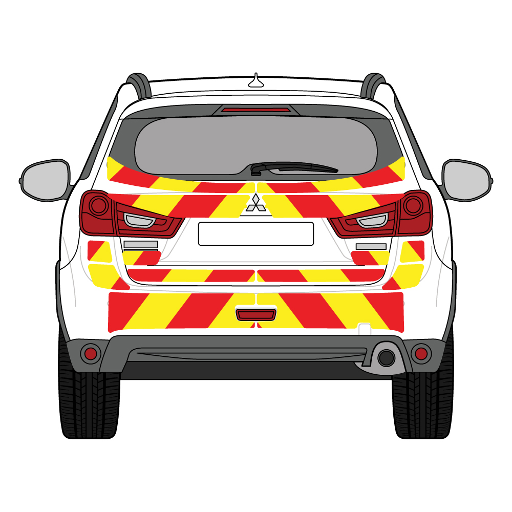 C8 Avery V8000 Red & Orafol 7510 Fluo Yellow Mitsubishi ASX 2017  Full Coverage Below Windows