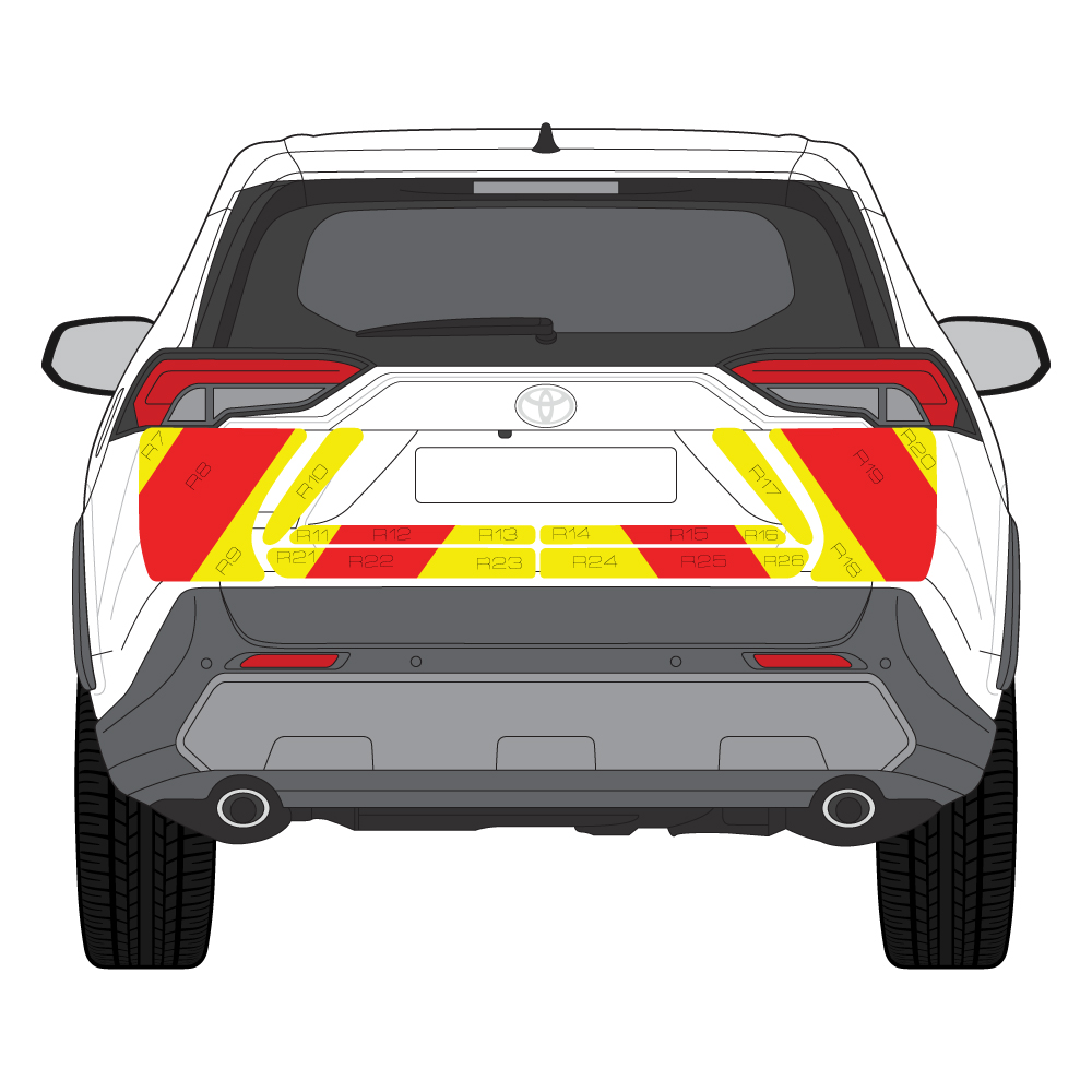 C8 Nikkalite Crystal Grade Red & HI-SCAL Fluo Yellow Toyota Rav4 RV9    Full Coverage Below Windows
