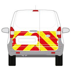 C8 Avery V8000 Red & Orafol 7510 Fluo Yellow Ford Transit Courier 2014+ Half Rear Kit