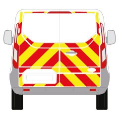 C8 Avery V8000 Red & Orafol 7510 Fluo Yellow Ford Transit Custom Barn Door Low Roof 2013+ Full Glazed Kit