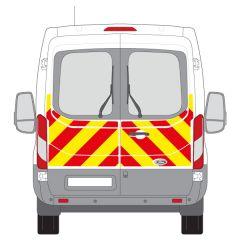 C8 Avery V8000 Red & Orafol 7510 Fluo Yellow Ford Transit Medium Roof 2014+ Half Rear Kit