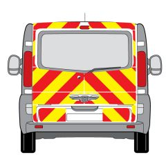 C8 Oralite 5960 Red & ORACAL 7510 RapidAir Fluo Yellow Renault Trafic Low Roof Tail gate 2001 Full Glazed Kit