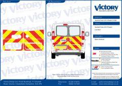 C8 Oralite 5960 Red & ORACAL 7510 RapidAir Fluo Yellow Vauxhall Vivaro Standard Roof 2014 Half Rear Kit