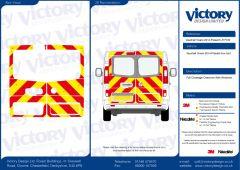 C8 Oralite 5960 Red & ORACAL 7510 RapidAir Fluo Yellow Vauxhall Vivaro Standard Roof 2014 Full Glazed Kit