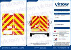 C8 Nikkalite FEG Red & HI-SCAL Fluo Yellow Vauxhall Vivaro Standard Roof 2014 Full Rear Kit