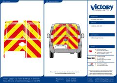 C8 Oralite 5960 Red & ORACAL 7510 RapidAir Fluo Yellow Fiat Doblo Standard Roof 2011  Full Rear Kit
