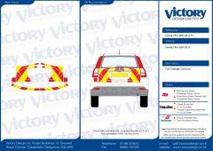 C8 3MDG Red & 3M Saturn Fluo Yellow Honda CRV 2007-2012 Full Coverage Below Windows