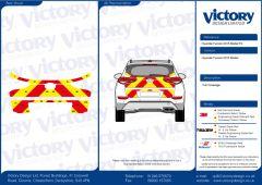 C8 Avery V8000 Red & Orafol 7510 Fluo Yellow Hyundai Tuscon 2015 Model Full Rear