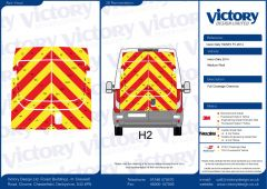 C8 Oralite 5960 Red & ORACAL 7510 RapidAir Fluo Yellow Iveco Daily Medium Roof 2014 Full Rear Kit