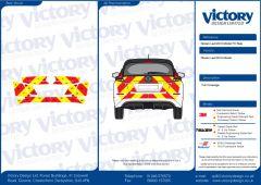 C8 Avery V8000 Red & Orafol 7510 Fluo Yellow Nissan Leaf 2018 Model Full Rear