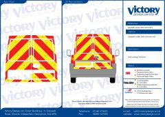 C8 Nikkalite FEG Red & HI-SCAL Fluo Yellow Vauxhall Combo Van Standard Roof 2003-2010 Full Rear Kit