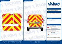 C8 Oralite 5960 Red & ORACAL 7510 RapidAir Fluo Yellow Vauxhall Combo Van Standard Roof 2011 Full Rear Kit