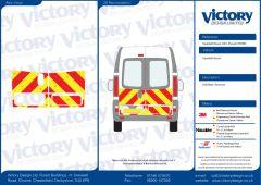 C8 Oralite 5960 Red & ORACAL 7510 RapidAir Fluo Yellow Vauxhall Vivaro High Roof 2001 Half Rear Kit