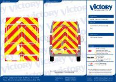 C8 Oralite 5960 Red & ORACAL 7510 RapidAir Fluo Yellow Vauxhall Vivaro High Roof 2001 Full Rear Kit