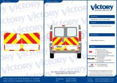 C8 Oralite 5960 Red & ORACAL 7510 RapidAir Fluo Yellow Vauxhall Vivaro Standard Roof 2001 Half Rear Kit