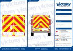 C8 Oralite 5960 Red & ORACAL 7510 RapidAir Fluo Yellow Vauxhall Vivaro Standard Roof 2001 Full Rear Kit