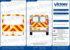 C8 Oralite 5960 Red & ORACAL 7510 RapidAir Fluo Yellow Vauxhall Vivaro Standard Roof 2001 Full Glazed Kit