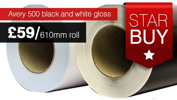 Avery black and white gloss 610mm rolls for less