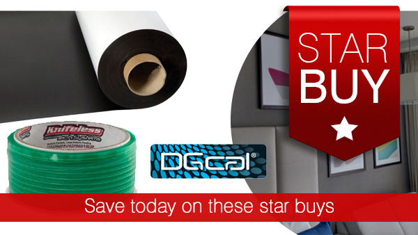 Knifeless tape for vehicle livery, magnetic rubber and digital vinyl on offer this month
